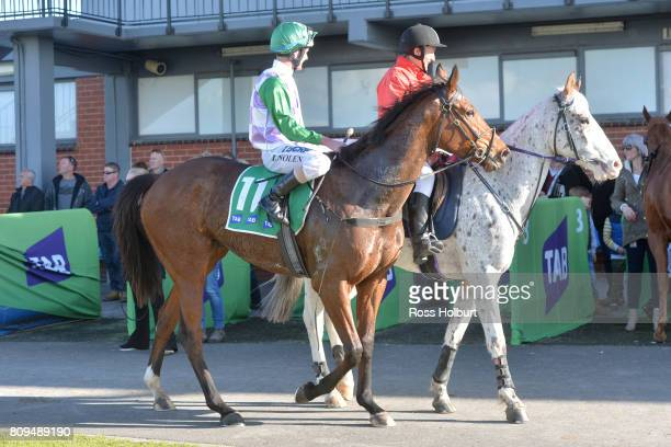 Luke Nolen returns to the mounting yard on Days Go By after winning the Highview Accounting Financial Services Maiden Plate at Cranbourne Racecourse...