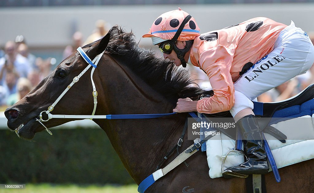 Luke Nolen riding Black Caviar during an exhibition gallop in between races at Caulfield Racecourse on February 2, 2013 in Melbourne, Australia.