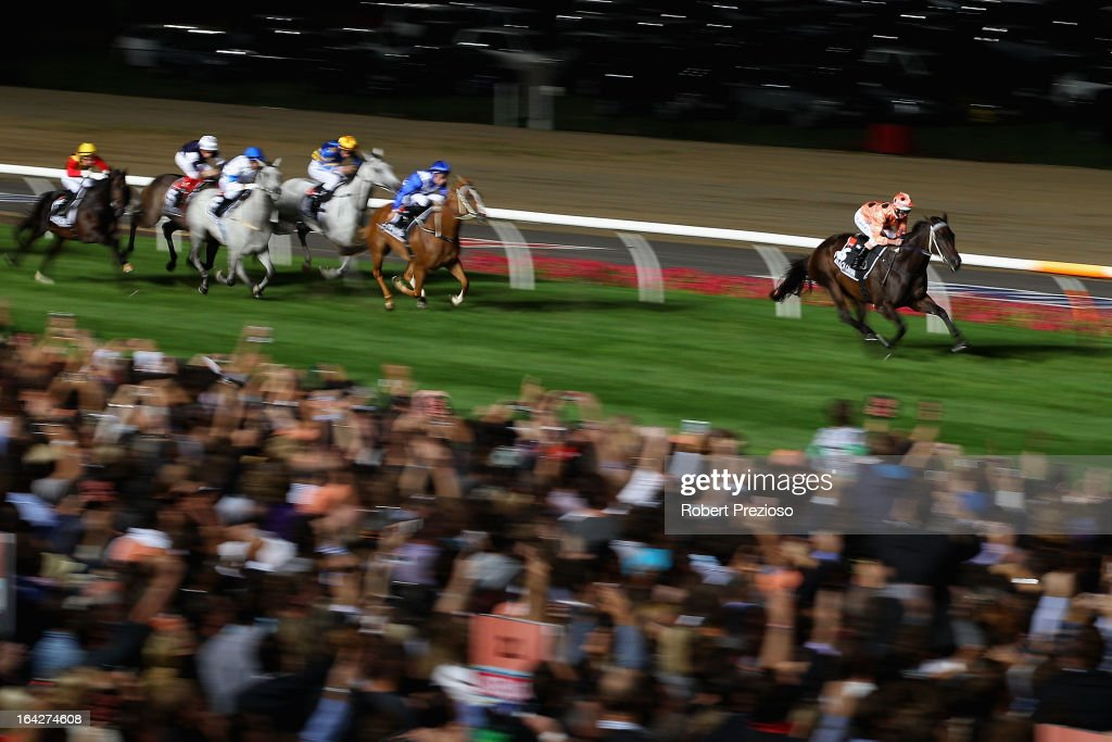 <a gi-track='captionPersonalityLinkClicked' href=/galleries/search?phrase=Luke+Nolen&family=editorial&specificpeople=2190756 ng-click='$event.stopPropagation()'>Luke Nolen</a> riding Black Caviar leads the field to win Hacer group william reid stakes during Melbourne racing at Moonee Valley Racecourse on March 22, 2013 in Melbourne, Australia.