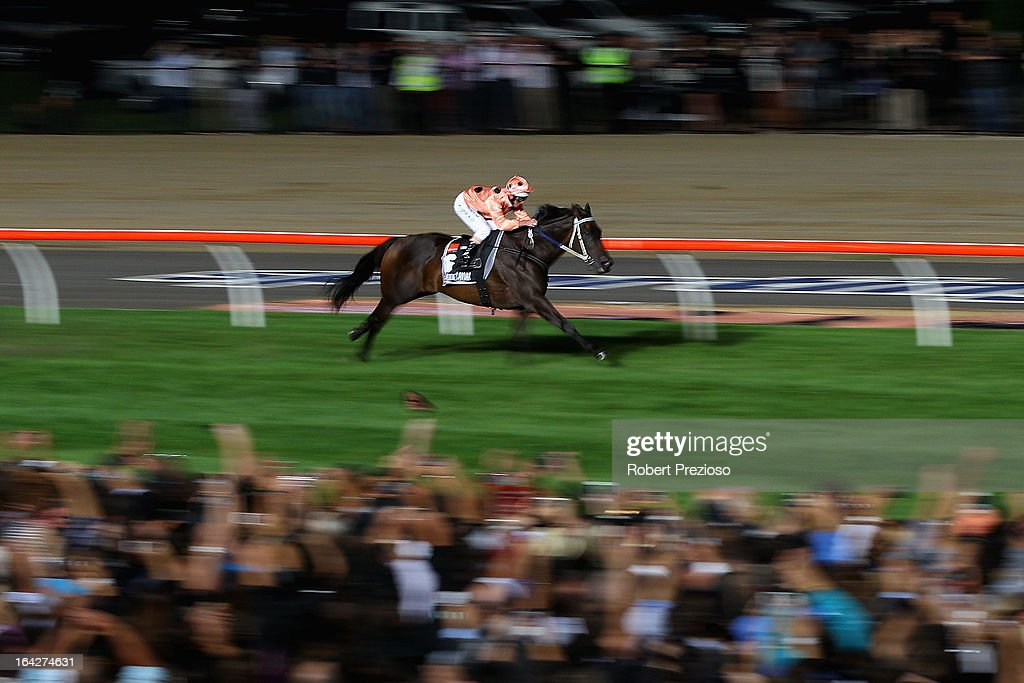 Luke Nolen riding Black Caviar leads the field to win Hacer group william reid stakes during Melbourne racing at Moonee Valley Racecourse on March 22, 2013 in Melbourne, Australia.