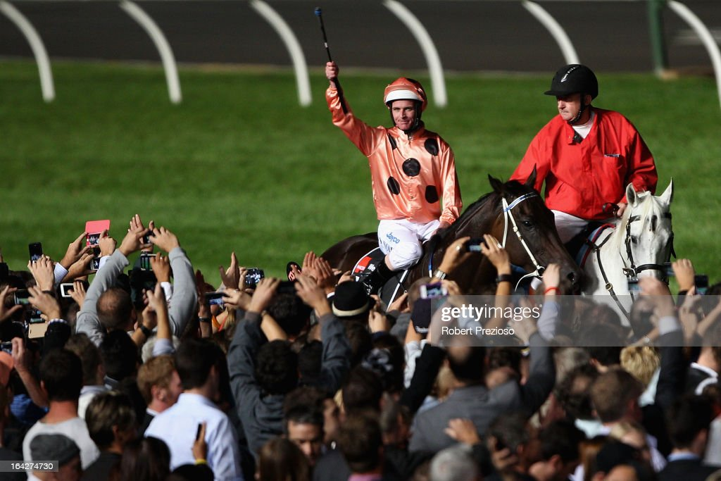 Luke Nolen riding Black Caviar returns to scale after winning Hacer group william reid stakes during Melbourne racing at Moonee Valley Racecourse on March 22, 2013 in Melbourne, Australia.