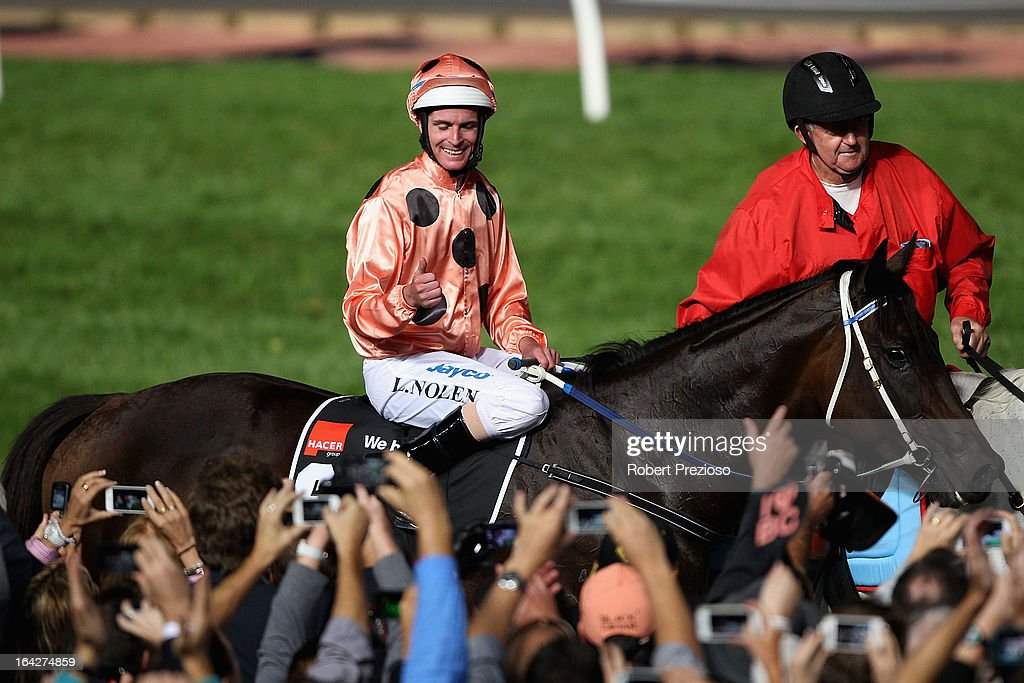 <a gi-track='captionPersonalityLinkClicked' href=/galleries/search?phrase=Luke+Nolen&family=editorial&specificpeople=2190756 ng-click='$event.stopPropagation()'>Luke Nolen</a> riding Black Caviar returns to scale after winning Hacer group william reid stakes during Melbourne racing at Moonee Valley Racecourse on March 22, 2013 in Melbourne, Australia.