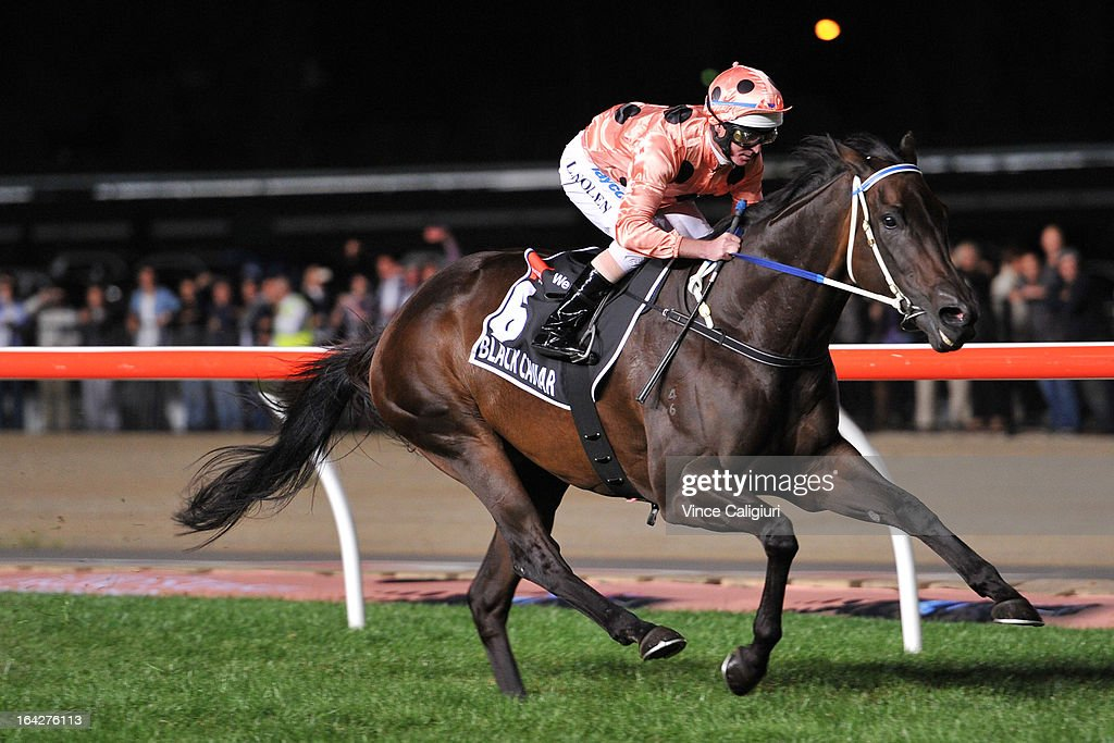 <a gi-track='captionPersonalityLinkClicked' href=/galleries/search?phrase=Luke+Nolen&family=editorial&specificpeople=2190756 ng-click='$event.stopPropagation()'>Luke Nolen</a> riding Black Caviar winning her 24th straight win in the Hacer Group William Reid Stakes during Melbourne racing at Moonee Valley Racecourse on March 22, 2013 in Melbourne, Australia.