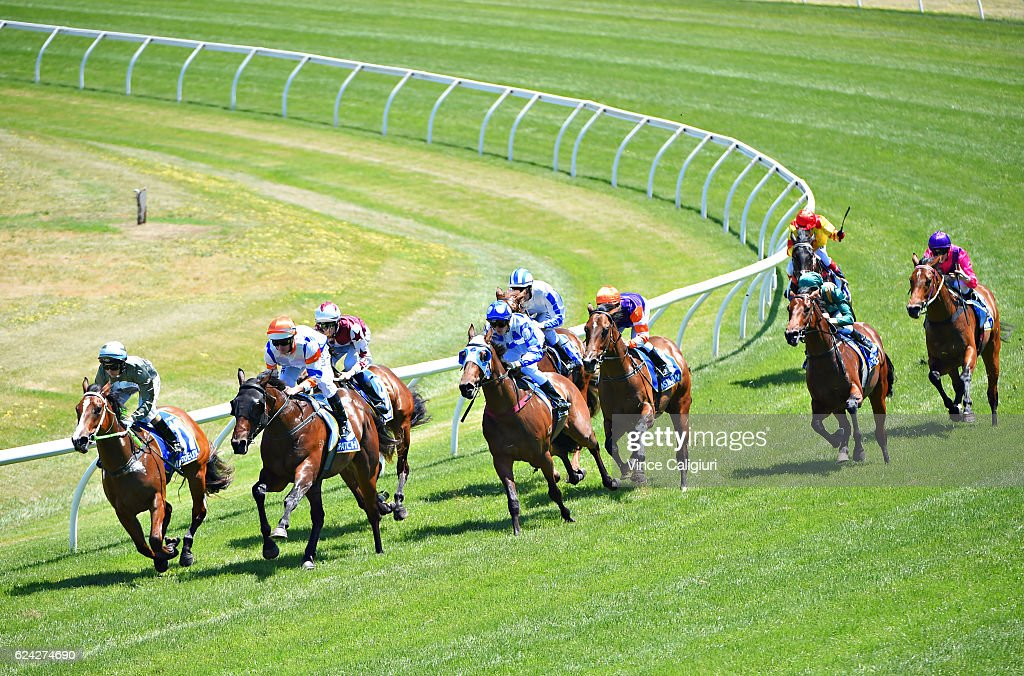 Luke Nolen riding Despatch (2 L) turns into the home straight before winning Race 4, Magic Million 2yo Clockwise Classic during Ballarat Cup day at Ballarat Racecourse on November 19, 2016 in Ballarat, Australia.