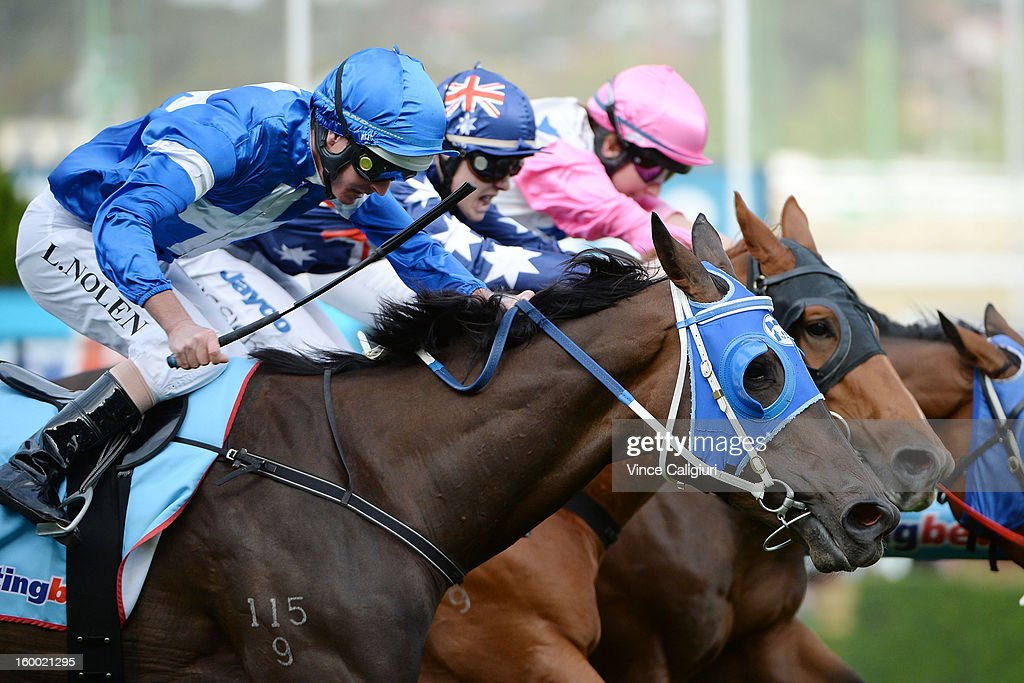 <a gi-track='captionPersonalityLinkClicked' href=/galleries/search?phrase=Luke+Nolen&family=editorial&specificpeople=2190756 ng-click='$event.stopPropagation()'>Luke Nolen</a> riding Grand Daughter wins the Sportingbet Handicap during Melbourne racing at Moonee Valley Racecourse on January 25, 2013 in Melbourne, Australia.
