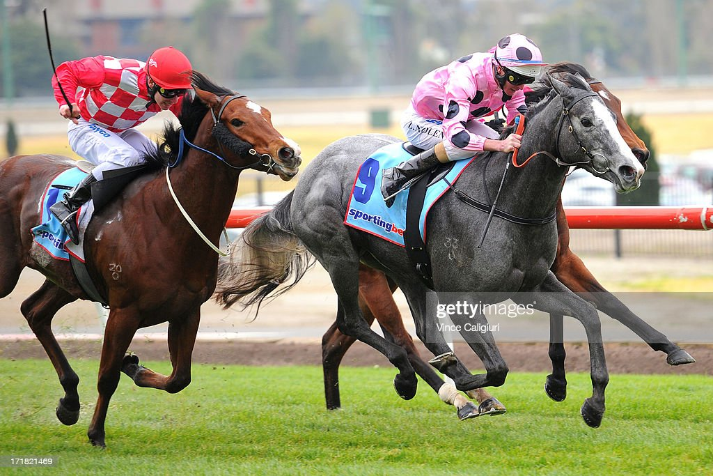 Luke Nolen riding Miss Steele wins the Sportingbet Handicap during Melbourne Racing at Moonee Valley Racecourse on June 29, 2013 in Melbourne, Australia.
