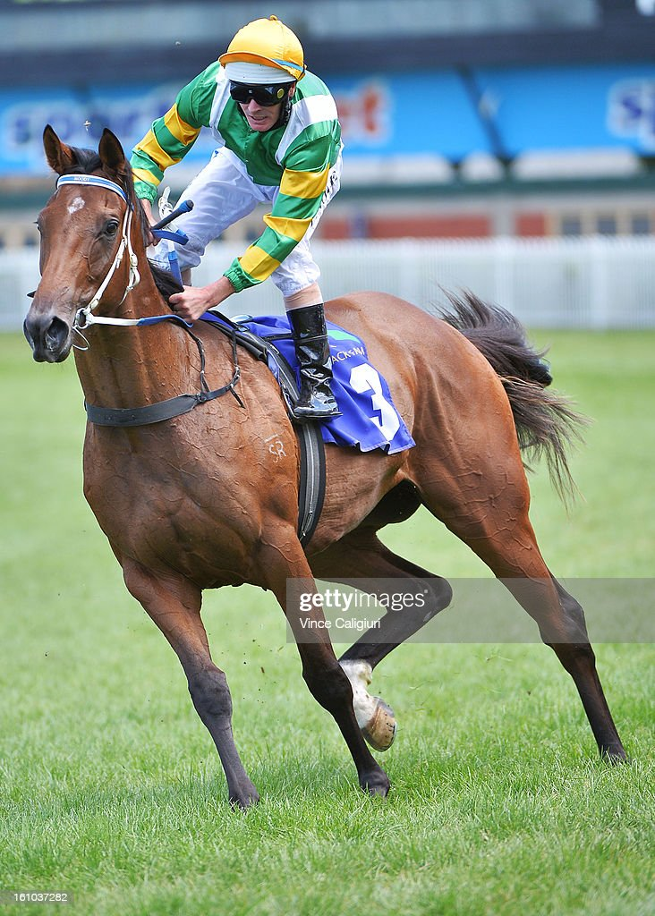 Luke Nolen riding Quest for Peace is almost dislodged on returning after the Patinack Farm Blue Diamond Prelude during Melbourne Racing at Caulfield Racecourse on February 9, 2013 in Melbourne, Australia.