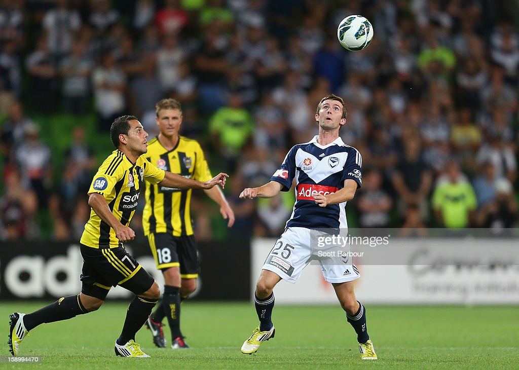 Luke O'Dea of the Victory controls the ball during the round 15 A-League match between the Melbourne Victory and Wellington Phoenix at AAMI Park on January 5, 2013 in Melbourne, Australia.