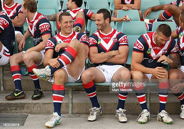 Luke O'Donnell and Boyd Cordner share a joke during the Sydney Roosters NRL Grand Final media day at Allianz Stadium on September 30 2013 in Sydney...