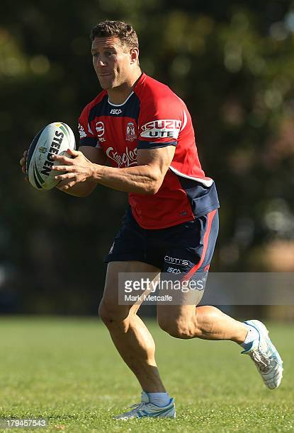 Luke O'Donnell in action during a Sydney Roosters NRL training session at Moore Park on September 4 2013 in Sydney Australia