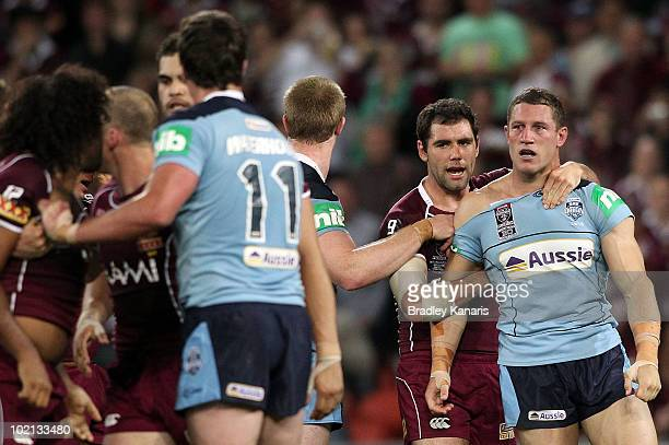 Luke O'Donnell of the Blues is involved in an in all in brawl during game two of the ARL State of Origin Series between the New South Wales Blues and...