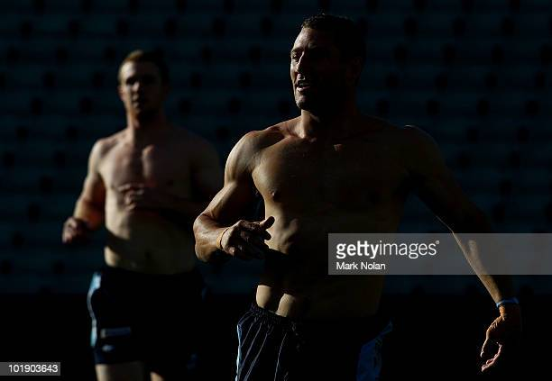 Luke O'Donnell of the Blues looks on during a New South Wales Blues Origin training session at Parramatta Stadium on June 9 2010 in Sydney Australia