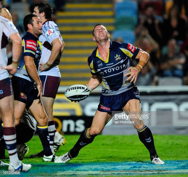 Luke O'Donnell of the Cowboys celebrates scoring a try during the round 12 NRL match between the North Queensland Cowboys and the Manly Sea Eagles at...