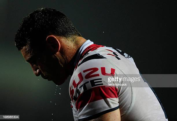 Luke O'Donnell of the Roosters looks on during the round 10 NRL match between the North Queensland Cowboys and the Sydney Roosters at 1300SMILES...
