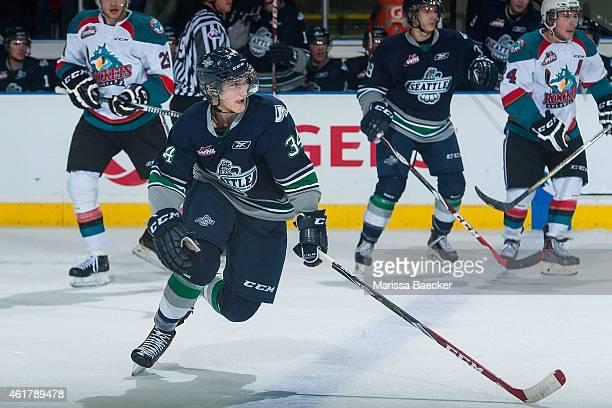 Luke Osterman of Seattle Thunderbirds skates against the Kelowna Rockets on January 16 2015 at Prospera Place in Kelowna British Columbia Canada