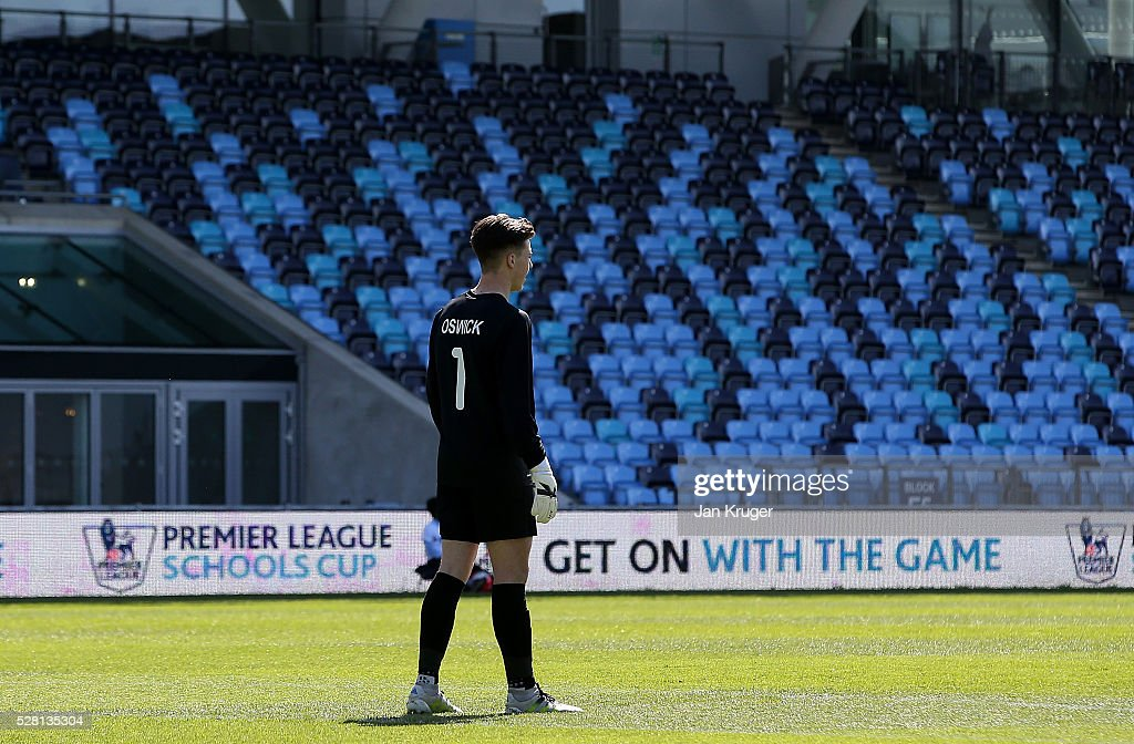 Luke Oswick, Goalkeeper of Samuel Whitbread Academy looks on during the under 16 Schools' Cup final match between Thomas Telford School and Samuel Whitbread Academy at the Academy Training Ground on May 04, 2016 in Manchester, England.
