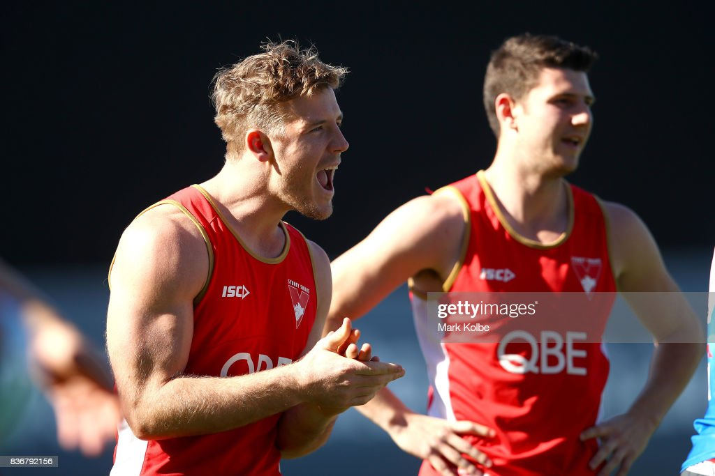 Luke Parker cheers after winning a drill during a Sydney Swans AFL training session at Sydney Cricket Ground on August 22, 2017 in Sydney, Australia.