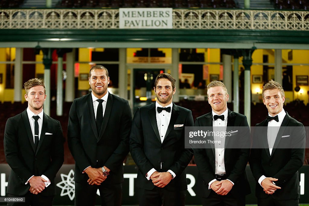 Luke Parker, Lance Franklin, Josh Kennedy, Dan Hannebery and Kieren Jack of the Swans arrive at the Sydney Swans function at Sydney Cricket Ground ahead of the 2016 AFL Brownlow Medal ceremony on September 26, 2016 in Sydney, Australia.