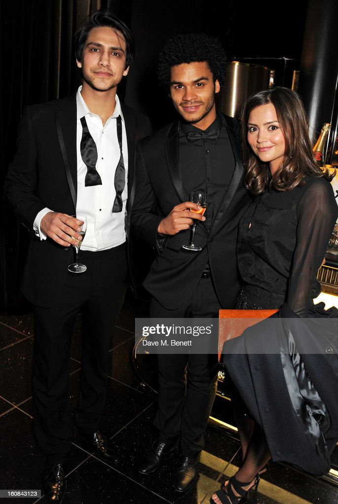Luke Pasqualino, guest and <a gi-track='captionPersonalityLinkClicked' href=/galleries/search?phrase=Jenna-Louise+Coleman&family=editorial&specificpeople=2234221 ng-click='$event.stopPropagation()'>Jenna-Louise Coleman</a> attend the Pre-BAFTA Party hosted by EE and Esquire ahead of the 2013 EE British Academy Film Awards at The Savoy Hotel on February 6, 2013 in London, England.