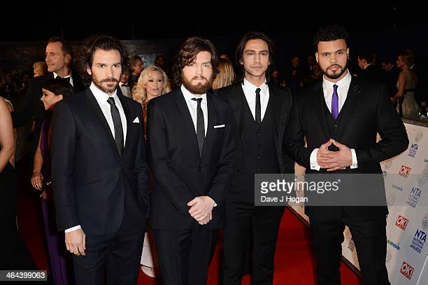 Luke Pasqualino Tom Burke Howard Charles and Santiago Cabrera attend the National Television Awards 2014 on January 22 2014 in London England
