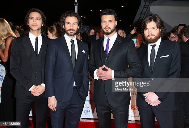 Luke Pasqualino Tom Burke Howard Charles and Santiago Cabrera attend the National Television Awards at 02 Arena on January 22 2014 in London England