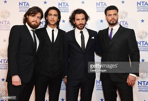 Luke Pasqualino Tom Burke Howard Charles and Santiago Cabrera pose in front of the winners boards at the National Television Awards 2014 on January...