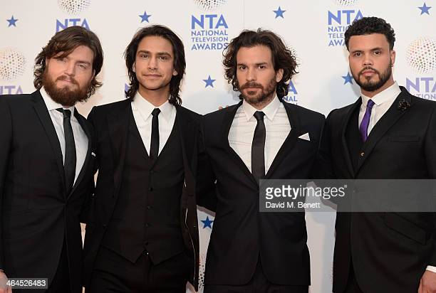 Luke Pasqualino Tom Burke Howard Charles and Santiago Cabrera pose in front of the winners boards at the National Television Awards at 02 Arena on...