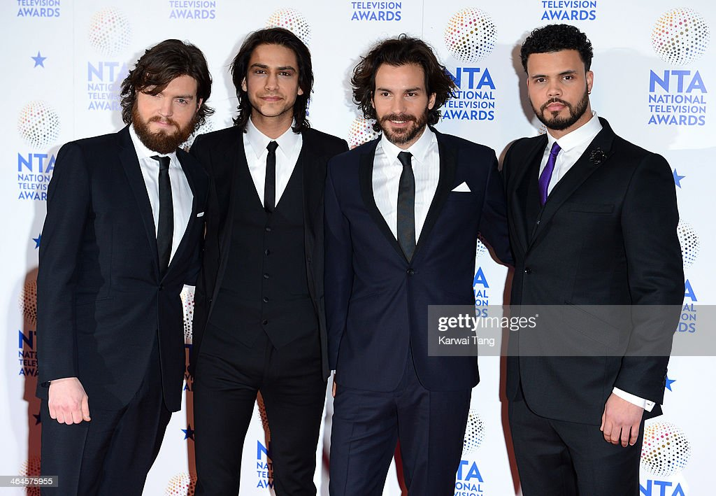 Luke Pasqualino, <a gi-track='captionPersonalityLinkClicked' href=/galleries/search?phrase=Tom+Burke+-+Actor&family=editorial&specificpeople=13887774 ng-click='$event.stopPropagation()'>Tom Burke</a>, Howard Charles and <a gi-track='captionPersonalityLinkClicked' href=/galleries/search?phrase=Santiago+Cabrera&family=editorial&specificpeople=745559 ng-click='$event.stopPropagation()'>Santiago Cabrera</a> pose in the winners room at the National Television Awards at 02 Arena on January 22, 2014 in London, England.