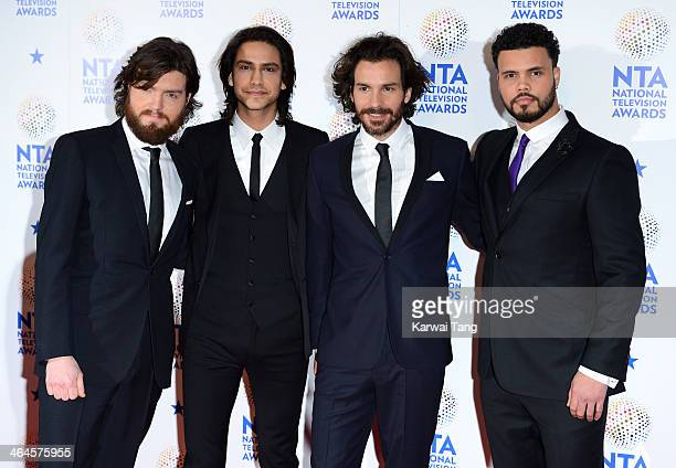 Luke Pasqualino Tom Burke Howard Charles and Santiago Cabrera pose in the winners room at the National Television Awards at 02 Arena on January 22...