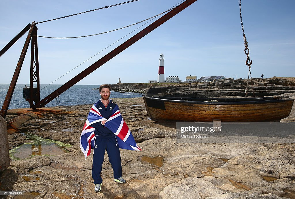 Luke Patience of the 470 Men's Class and Team GB poses during a Team GB Sailing Announcement for the Rio 2016 Olympic Games at Portland Bill on May 3, 2016 in Weymouth, England.