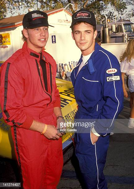 Luke Perry and Ian Ziering at the Reid Rondell Celebrity Car Race Saugus Speedway Saugus