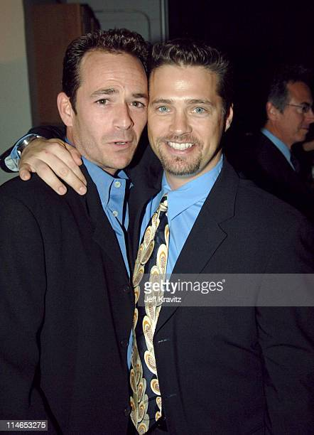 Luke Perry and Jason Priestley during 2005 TV Land Awards Backstage at Barker Hangar in Santa Monica California United States