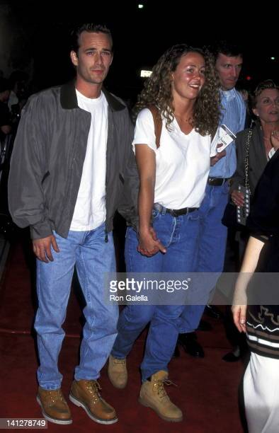 Luke Perry and Minnie Sharpe at the Premiere of 'Don Juan DeMarco' Academy of Motions Picture Arts Sciences Beverly Hills