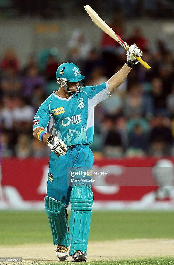 Luke Pomersbach of the Heat acknowledges the crowd after scoring a half century during the Big Bash League match between the Hobart Hurricanes and the Brisbane Heat at Blundstone Arena on January 12, 2013 in Hobart, Australia.