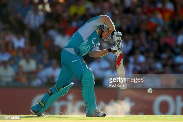 Luke Pomersbach of the Heat bats during the Big Bash League final match between the Perth Scorchers and the Brisbane Heat at the WACA on January 19...