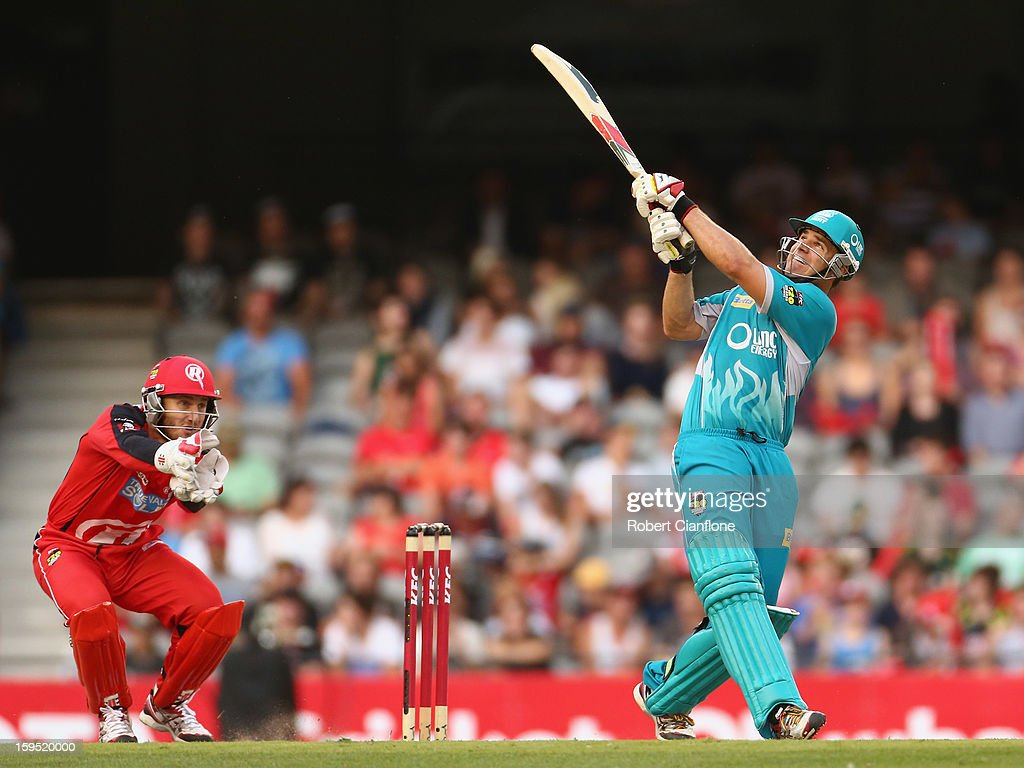 <a gi-track='captionPersonalityLinkClicked' href=/galleries/search?phrase=Luke+Pomersbach&family=editorial&specificpeople=4042492 ng-click='$event.stopPropagation()'>Luke Pomersbach</a> of the Heat bats during the Big Bash League Semi-Final match between the Melbourne Renegades and the Brisbane Heat at Etihad Stadium on January 15, 2013 in Melbourne, Australia.
