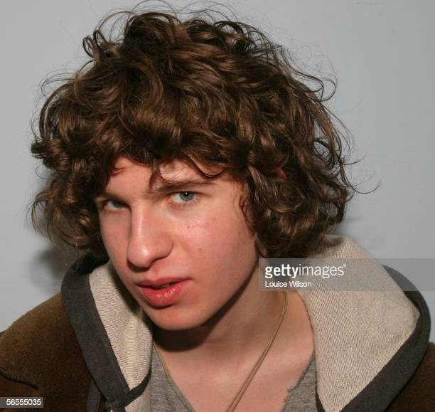 Luke Pritchard of the Brighton indie group The Kooks poses backstage at HMV Oxford Street on January 9 2006 in London England to celebrate the...