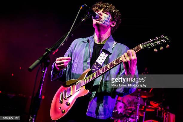 Luke Pritchard of The Kooks performs on stage at Cardiff University on November 22 2014 in Cardiff United Kingdom