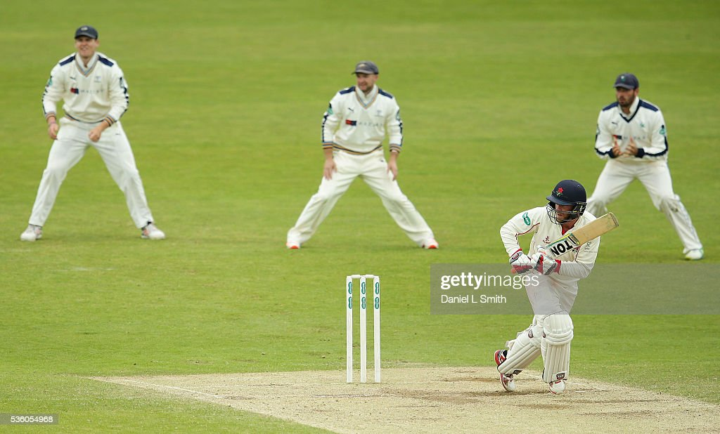 Luke Procter of Lancashire bats during day three of the Specsavers County Championship: Division One match between Yorkshire and Lancashire at Headingley on May 31, 2016 in Leeds, England.