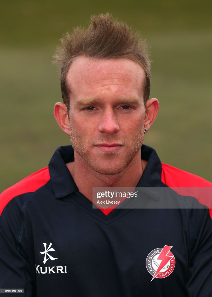 Luke Procter of Lancashire CCC wears the Yorkshire 40 during a pre-season photocall at Old Trafford on April 2, 2013 in Manchester, England.
