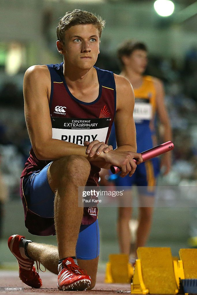 Luke Purdy of Queensland waits to start the mens u18 4x100 metre relay during day two of the Australian Junior Championships at the WA Athletics Stadium on March 13, 2013 in Perth, Australia.