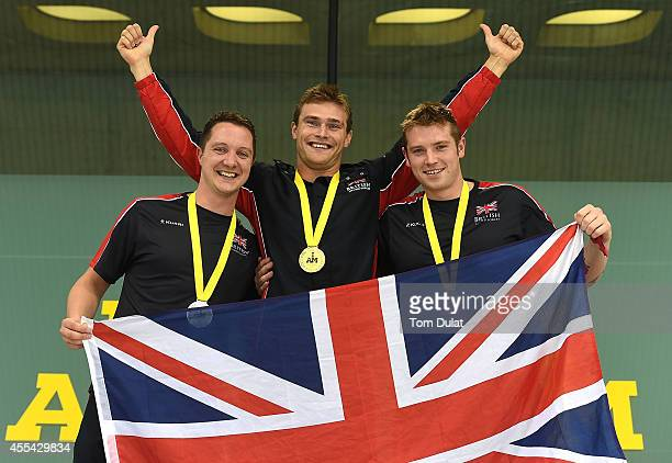 Luke Reeson of Great Britain Gus Hurst of Great Britain and Michael Goody of Great Britain pose with their medals after the Men's S10 50m Freestyle...