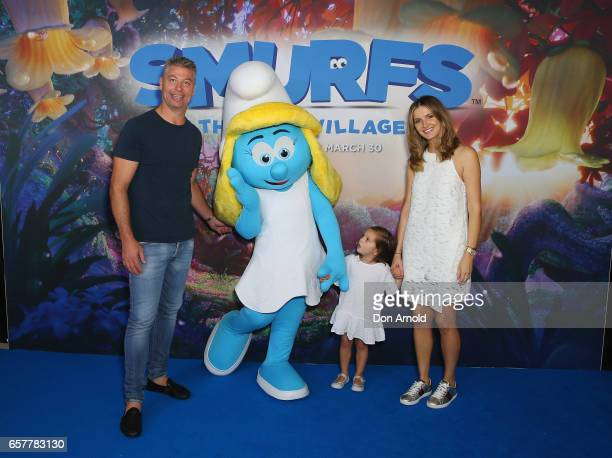 Luke Ricketson daughter Sophia Ricketson and wife Kate Waterhouse arrive ahead of the SMURFS The Lost Village Sydney Premiere on March 26 2017 in...