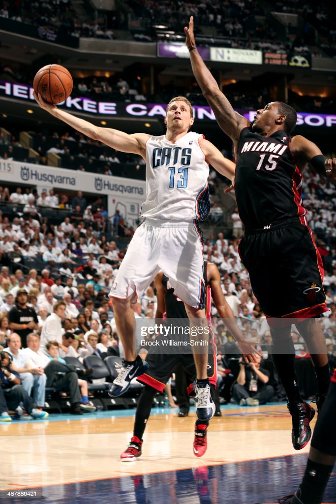 <a gi-track='captionPersonalityLinkClicked' href=/galleries/search?phrase=Luke+Ridnour&family=editorial&specificpeople=201824 ng-click='$event.stopPropagation()'>Luke Ridnour</a> #13 of the Charlotte Bobcats shoots against the Miami Heat in Game Three of the Eastern Conference Quarterfinals of the 2014 NBA playoffs at the Time Warner Cable Arena on April 26, 2014 in Charlotte, North Carolina.