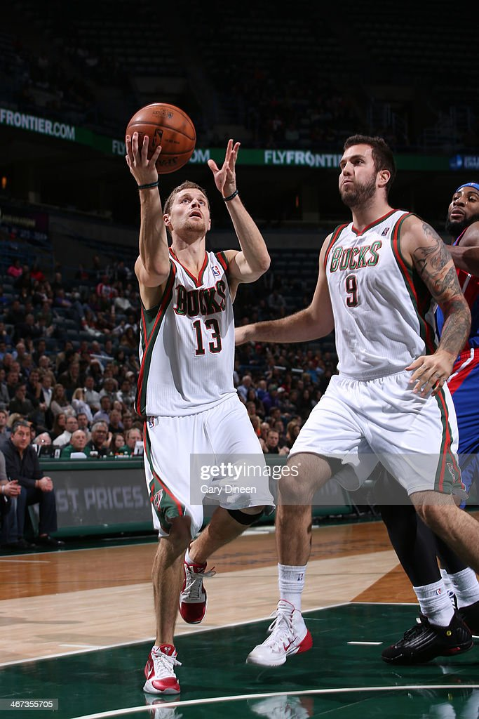 <a gi-track='captionPersonalityLinkClicked' href=/galleries/search?phrase=Luke+Ridnour&family=editorial&specificpeople=201824 ng-click='$event.stopPropagation()'>Luke Ridnour</a> #13 of the Milwaukee Bucks shoots against the Detroit Pistons on December 4, 2013 at the BMO Harris Bradley Center in Milwaukee, Wisconsin.