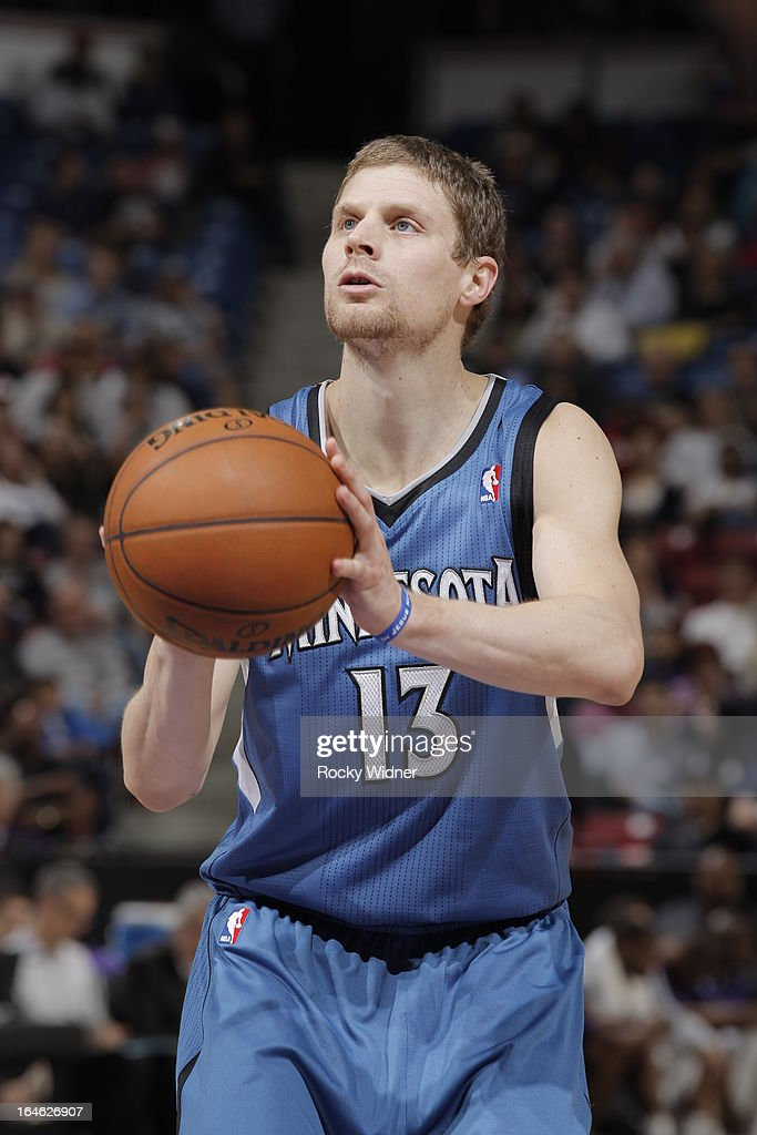 Luke Ridnour #13 of the Minnesota Timberwolves attempts a free throw shot against the Sacramento Kings on March 21, 2013 at Sleep Train Arena in Sacramento, California.