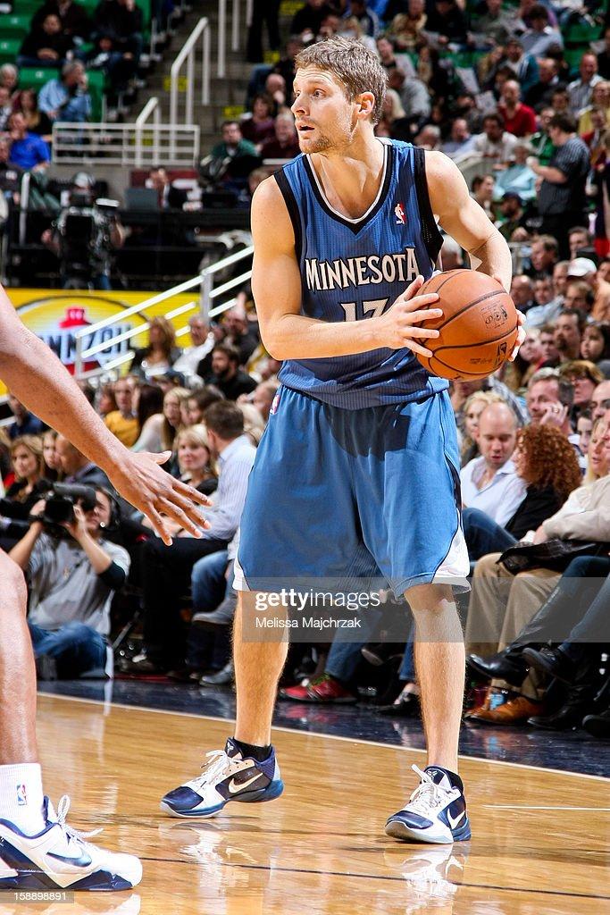 Luke Ridnour #13 of the Minnesota Timberwolves controls the ball against the Utah Jazz at Energy Solutions Arena on January 2, 2013 in Salt Lake City, Utah.