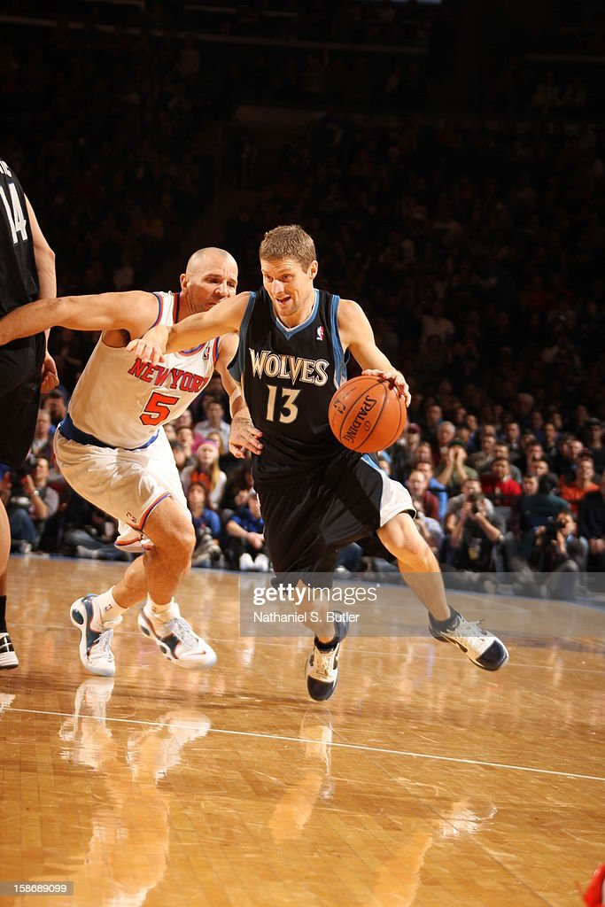 <a gi-track='captionPersonalityLinkClicked' href=/galleries/search?phrase=Luke+Ridnour&family=editorial&specificpeople=201824 ng-click='$event.stopPropagation()'>Luke Ridnour</a> #13 of the Minnesota Timberwolves dribbles against <a gi-track='captionPersonalityLinkClicked' href=/galleries/search?phrase=Jason+Kidd&family=editorial&specificpeople=201560 ng-click='$event.stopPropagation()'>Jason Kidd</a> #5 of the New York Knicks on December 23, 2012 at Madison Square Garden in New York City.