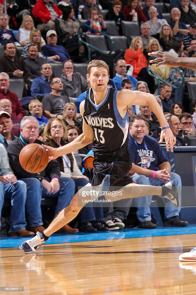 Luke Ridnour #13 of the Minnesota Timberwolves drives against the Oklahoma City Thunder on February 22, 2013 at the Chesapeake Energy Arena in Oklahoma City, Oklahoma.