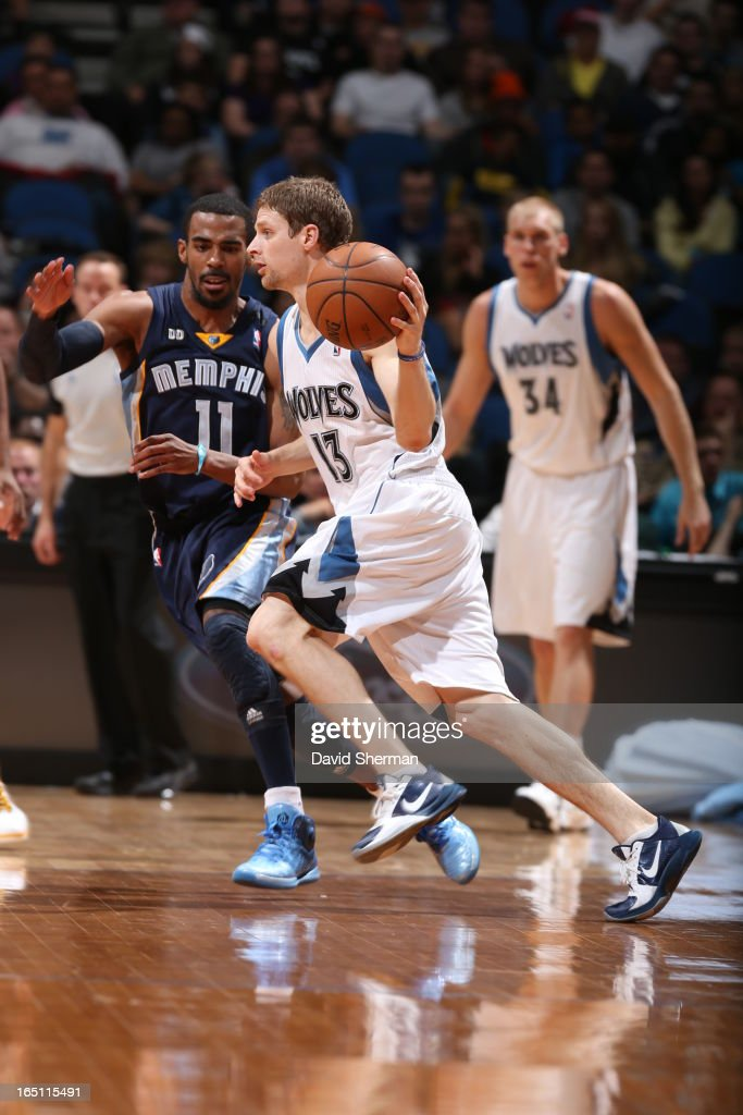Luke Ridnour #13 of the Minnesota Timberwolves drives during the game between the Memphis Grizzlies and the Minnesota Timberwolves on March 30, 2013 at Target Center in Minneapolis, Minnesota.